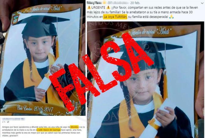 Falso que hayan robado a una niña en Morelia: PGJE