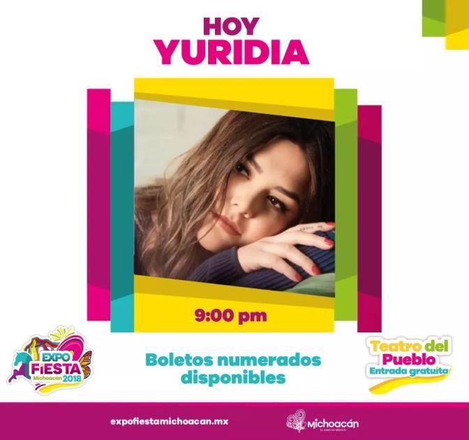 Esta noche, Yuridia en la Expo Fiesta Michoacán 2018
