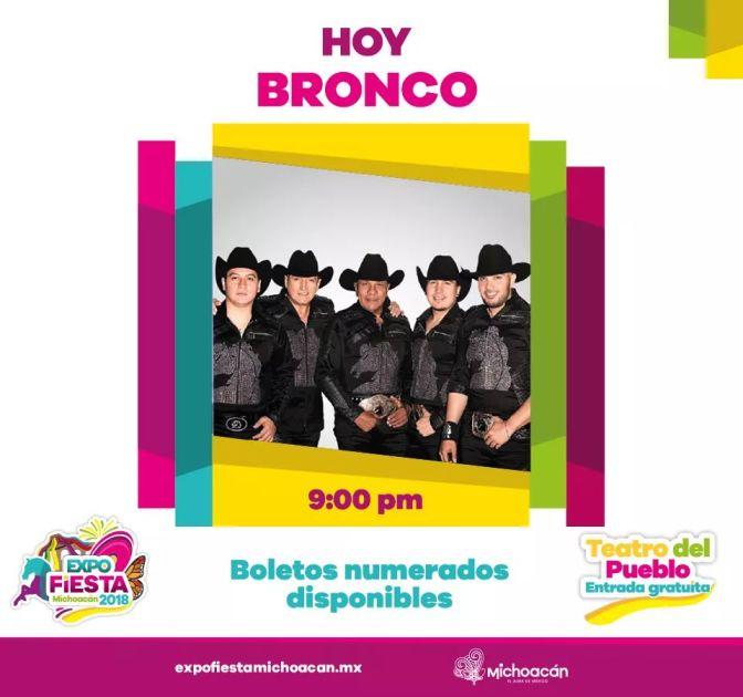 Bronco y Carlos Rivera hoy en la Expo Fiesta Michoacán 2018