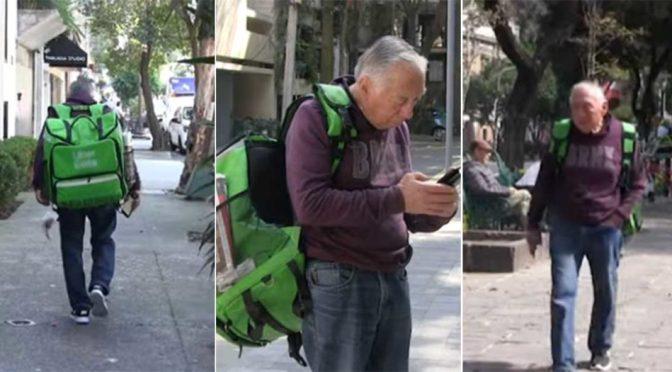 A sus 74 años, repartidor de Uber Eats entrega pedidos a pie